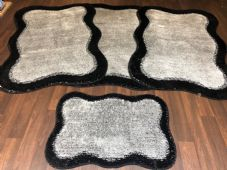 ROMANY WASHABLES TRAVELLER MATS NON SLIP SETS OF 4PC  NEW  BLACK/SILVER 80X120CM